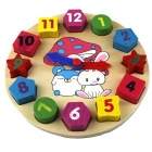Geometry Wood Animal Style Watch Building Block Toy - Multi-Colored