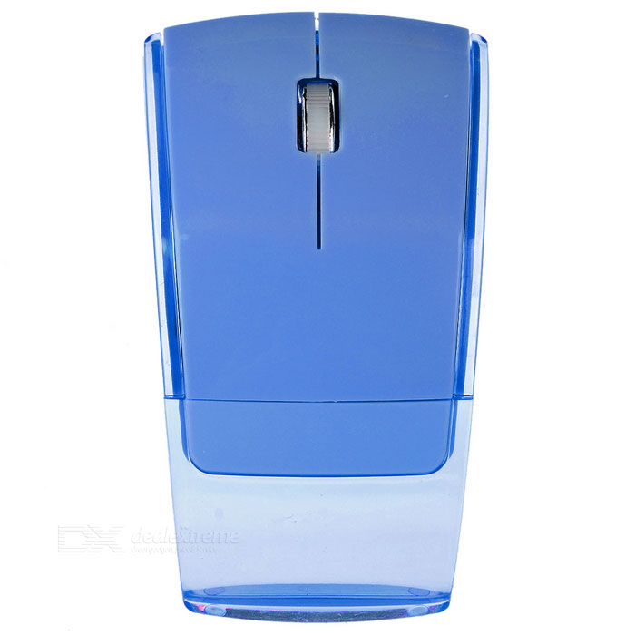 2.4GHz 1000dpi Foldable Wireless Optical Mouse - Blue + TransparentWireless Mouse<br>Form  ColorLight Blue + TransparentQuantity1 DX.PCM.Model.AttributeModel.UnitMaterialABS plasticShade Of ColorBlueInterfaceUSB 2.0Wireless or Wired2.4G WirelessOptical TypeLEDResolution1000dpiMax Acceleration10GbpsButton life8000, 000timesOperating RangeWithin 10 DX.PCM.Model.AttributeModel.UnitPowered ByAAA BatteryBattery included or notNoBattery Number2Supports SystemWin xp,Win 2000,Win 2008,Win vista,Win7 32,Win7 64,Win8 32,Win8 64,MAC OS X,Linux,Android 2.x,Android 4.xTypeOthers,OpticalPacking List1 x Mouse1 x USB receiver<br>