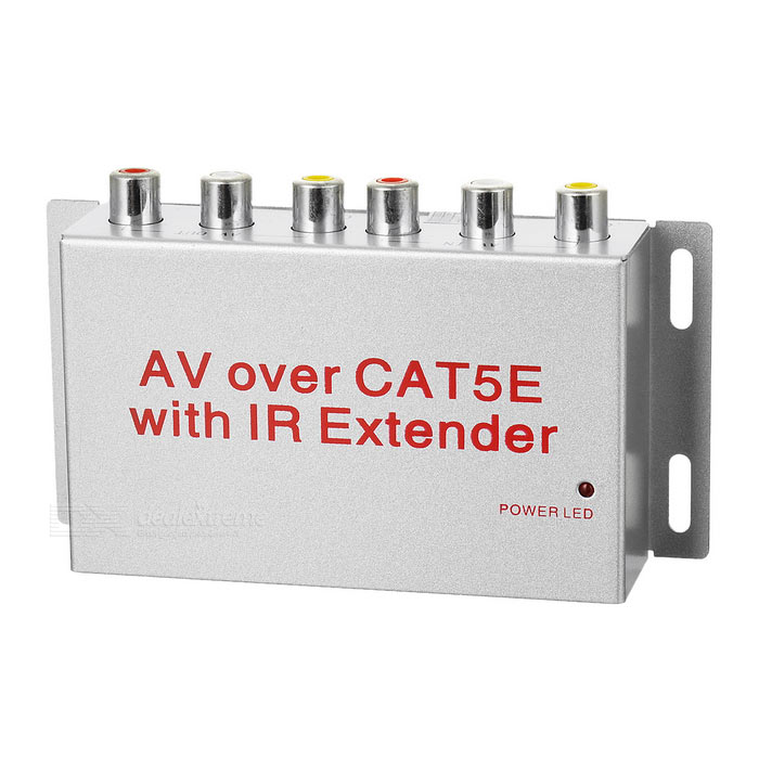 AV Transmitter Receiver w/ IR Cat5 / Cat6 Extender, RCA / USB B TypeAudio/Video Transmitters<br>Form  ColorSilver Grey + Red + Multi-ColoredPower AdapterUS PlugShade Of ColorSilverMaterialIron + ABSQuantity1 DX.PCM.Model.AttributeModel.UnitFrequencyEmission: 38~56KHz; receiving: 34~60KHzChannelAVVideo SystemPAL,NTSCTransmition Distance8MInterface3.5mm,RJ45,Others,RCA/USB B typeOther Featuresemitter range:100mm~200mm Video INput:0.8~1.2v fixed 75ohm Video Output:0.8~1.2v fixed 75 ohm 6DB Output Driver Gain. Audio Input:0.2~2V Audio Output:10DB Output Driver GainPacking List1 x Distribution box1 x Receiver(200/42+/-2cm)1 x English user manual1 x USB cable(52+/-2cm)1 x RCA cable (87+/-2cm)1 x 100~240V US Plug adpater1 x IR emitter(106+/-2cm)<br>