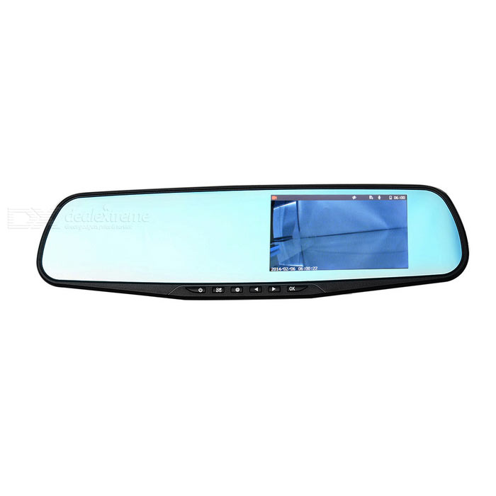 "4.3"" 1080P CMOS 140' Car DVR Rearview Mirror w/ Dual Cameras - Black"