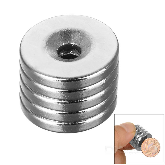 18*3-4mm Round NdFeB Neodymium Magnets Set - Silver (5PCS)Magnets Gadgets<br>Form Colorcustom10000MaterialNdFeBQuantity1 SetNumber5Suitable Age 12-15 Years,GrownupsOther FeaturesDiameter: 18mm, thickness: 3mm, hole diameter: 4mm, tolerance: +/-0.1mm, working temperature: max. 80C.Packing List5 x Magnets<br>