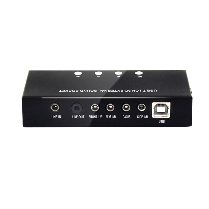 External Sound 7.1 Channel External Stereo Sound Card - BlackSound Cards<br>Form ColorBlackQuantity1 DX.PCM.Model.AttributeModel.UnitMaterialAluminumInterface3.5mmOutput Interface3.5mm AudioSample Rate48/44.1KHzDigital Audio64KSNR90dBChannels7.1Supports SystemWin xp,Win 2000,Win 2008,Win vista,Win7 32,Win7 64,Win8 32,Win8 64,MAC OS XPacking List1 x External Sound Card1 x Cable length (100cm)1 x Drive<br>