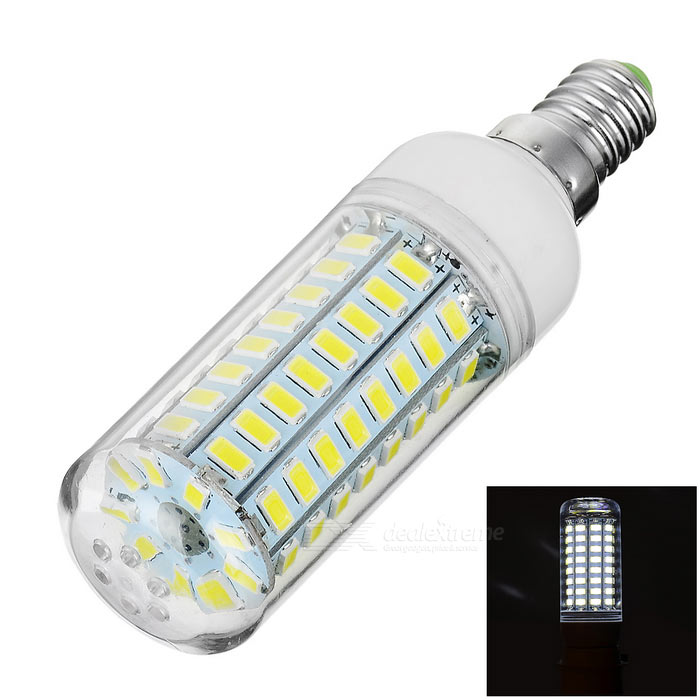 E14 5W LED Corn Bulb Cold White Light 700lm 81-SMD 5730 (AC 220~240V)E14<br>Form  ColorTransparent + White + Multi-ColoredColor BINCold WhiteMaterialAluminum + plasticQuantity1 DX.PCM.Model.AttributeModel.UnitPower5WRated VoltageAC 220-240 DX.PCM.Model.AttributeModel.UnitConnector TypeE14Emitter TypeOthers,5730 SMD LEDTotal Emitters81Theoretical Lumens850 DX.PCM.Model.AttributeModel.UnitActual Lumens550~700 DX.PCM.Model.AttributeModel.UnitColor Temperature6000KDimmableNoBeam Angle360 DX.PCM.Model.AttributeModel.UnitPacking List1 x Bulb<br>