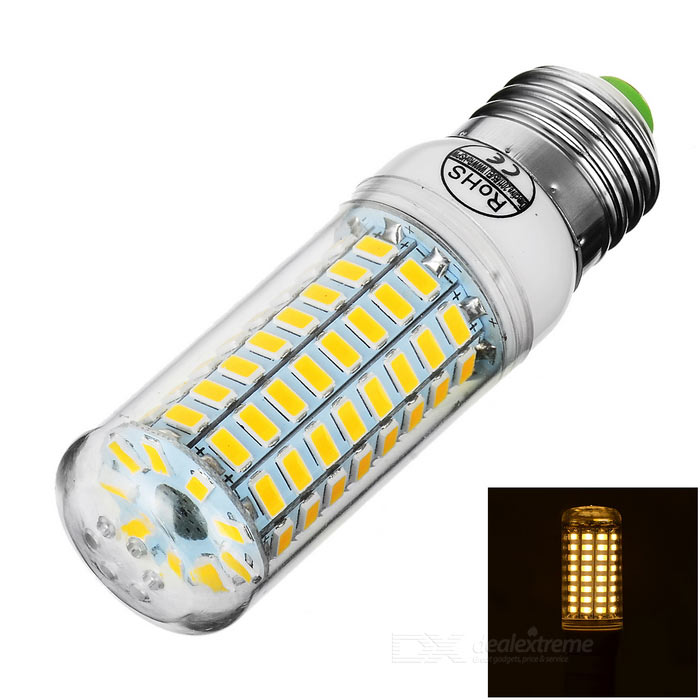 E27 5W LED Corn Bulb Lamp Warm White Light 3000K 89-SMD (AC 220~240V)E14<br>Form  ColorTransparent + White + Multi-ColoredColor BINWarm WhiteMaterialAluminum + plasticQuantity1 DX.PCM.Model.AttributeModel.UnitPower5WRated VoltageAC 220-240 DX.PCM.Model.AttributeModel.UnitConnector TypeE14Emitter TypeOthers,5730 SMD LEDTotal Emitters89Theoretical Lumens700 DX.PCM.Model.AttributeModel.UnitActual Lumens450~600 DX.PCM.Model.AttributeModel.UnitColor Temperature3000KDimmableNoBeam Angle360 DX.PCM.Model.AttributeModel.UnitPacking List1 x Bulb<br>