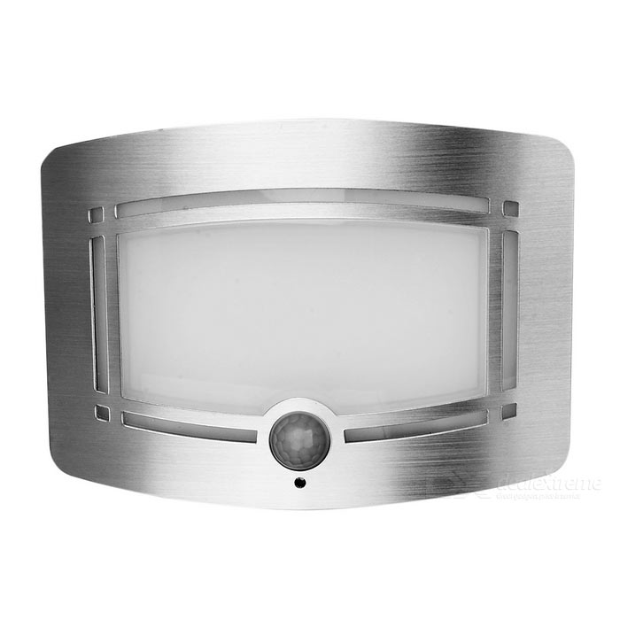 1W Human Body Infrared Induction Light Control Night Lamp - SilverLED Nightlights<br>MaterialAluminum + ABSForm  ColorSilver + WhiteQuantity1 DX.PCM.Model.AttributeModel.UnitPower1WRated VoltageOthers,8 DX.PCM.Model.AttributeModel.UnitConnector TypeOthers,N/AColor BINWarm WhiteEmitter TypeLEDTotal Emitters10Theoretical Lumens60~180 DX.PCM.Model.AttributeModel.UnitActual Lumens40~160 DX.PCM.Model.AttributeModel.UnitColor Temperature3000KDimmableNoBeam Angle100 DX.PCM.Model.AttributeModel.UnitInstallation TypeWall MountOther FeaturesPowered by 4 x AA batteries (not included)Packing List1 x Main unit1 x Kit of accessories<br>