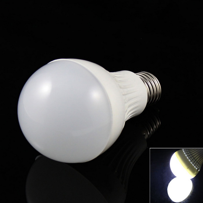 E27 7W 15-5730 SMD LED 520lm Cold White Light Lamp Bulb (AC 85~265V)E27<br>Form  ColorWhiteColor BINCold WhiteMaterialABSQuantity1 DX.PCM.Model.AttributeModel.UnitPower7WRated VoltageAC 85-265 DX.PCM.Model.AttributeModel.UnitConnector TypeE27Chip BrandOthers,N/AChip Type5730Emitter TypeOthers,5730 SMDTotal Emitters15Theoretical Lumens560 DX.PCM.Model.AttributeModel.UnitActual Lumens520 DX.PCM.Model.AttributeModel.UnitColor Temperature6000KDimmableNoBeam Angle280 DX.PCM.Model.AttributeModel.UnitPacking List1 x Bulb<br>