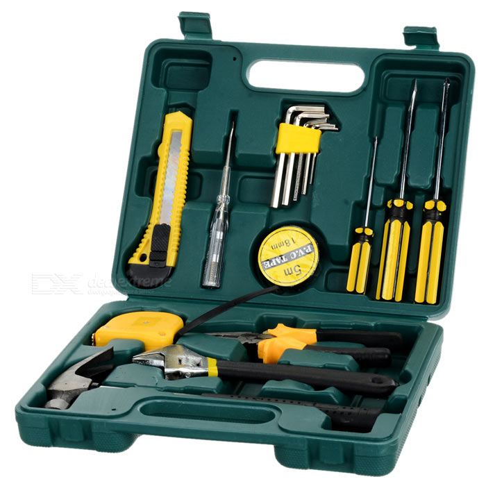 16-in-1 Hex Wrenches Home Hardware ToolOther Tools<br>Form ColorBlack + Yellow + Multi-ColoredQuantity1 DX.PCM.Model.AttributeModel.UnitMaterialMalleable ironPacking List1 x 7 Wire cutter1 x 8 Monkey spanner1 x Cutter2 x Screwdriver bits 100 x 6mm (cross/flat)5 x Hex wrenches 1.5~6mm1 x Insulating tape1 x Digital test pencil1 x Steel tape 2m 12.5mm1 x Claw hammer1 x Screwdriver bit 75 x 3.2 (cross)1 x Pouch<br>