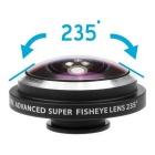 oldshark 235 graders universal clip-on super fish eye lins för iPhone, Samsung - svart