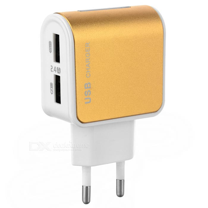ES-D09 2-USB Charger for IPHONE + More - White + Golden (EU Plug)