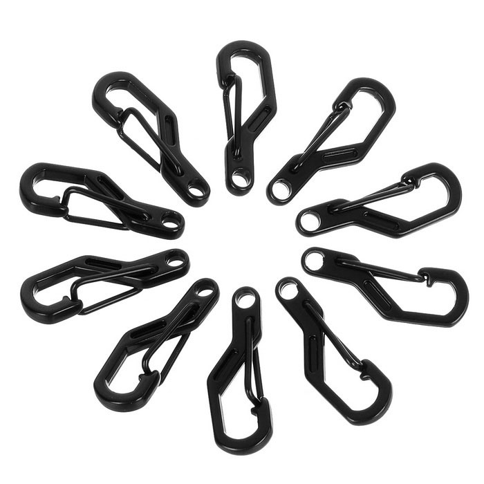 FURA Outdoor Zinc Alloy Key Carabiner - Black (10PCS)