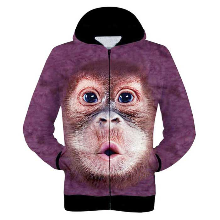 Fashionable 3D Orangutan Printing Hooded Coat - Purple Red (XXL) for sale in Bitcoin, Litecoin, Ethereum, Bitcoin Cash with the best price and Free Shipping on Gipsybee.com