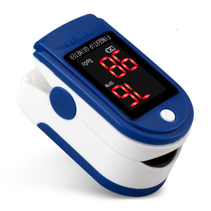 Buy Fingertip Oximeter Blood Oxygen Saturation Monitor - White + Blue with Litecoins with Free Shipping on Gipsybee.com