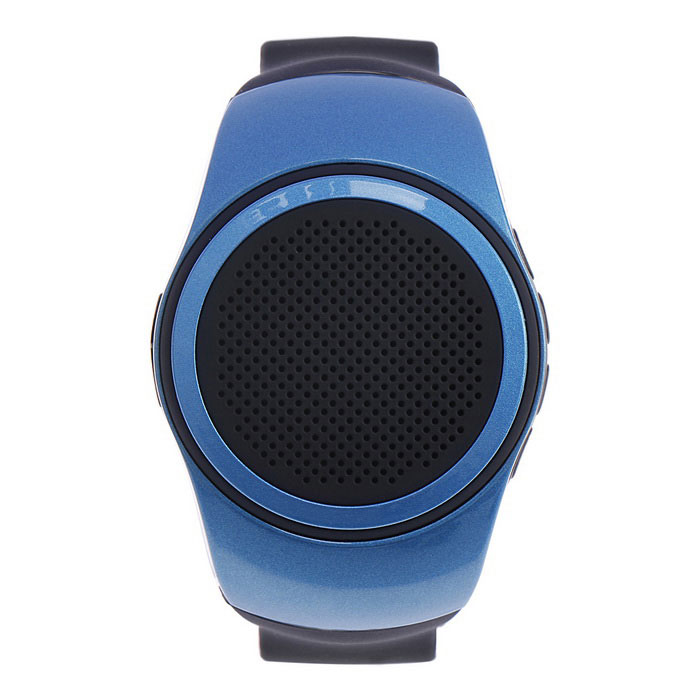 Sport Music BT Speaker Watch w/ Selfie Remote, FM,Anti-lost, TF - BlueBluetooth Speakers<br>Form ColorBlueMaterialABS + SiliconeQuantity1 DX.PCM.Model.AttributeModel.UnitShade Of ColorBlueBluetooth HandsfreeYesBluetooth VersionBluetooth V2.1Operating Range10MTotal Power3 DX.PCM.Model.AttributeModel.UnitInterfaceOthers,Micro USBMicrophoneYesSNRMicro USBSensitivity360mVFrequency Response120Hz-20KHzApplicable ProductsOthers,With all A2DP stereo Bluetooth enabled devices such as Iphone iPod Smartphone cell phone computer and Bluetooth devicesRadio TunerYesFM Frequency87.5~108MHzSupports Card TypeMicroSD (TF)Max Extended Capacity16GBBuilt-in Battery Capacity 500 DX.PCM.Model.AttributeModel.UnitBattery TypeLi-polymer batteryStandby Time48 DX.PCM.Model.AttributeModel.UnitMusic Play Time6Power AdapterUSBPower Supply5VPacking List1 x Speaker1 x USB Cable (30cm)<br>