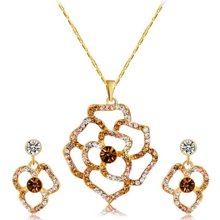 Xinguang Women's Rose Crystal Style Necklace + Earrings Set - Golden