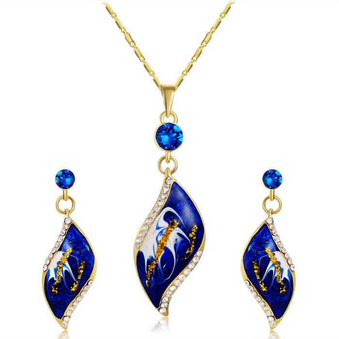 Xinguang-Womens-Oil-Painting-Style-Necklace-2b-Earrings-Set-Golden
