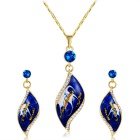 Xinguang Women's Oil Painting Style Necklace + Earrings Set - Golden