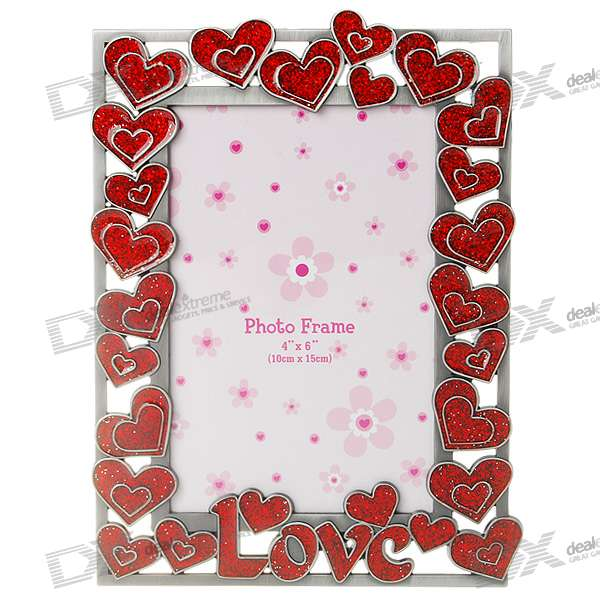 Love Themed Metal Photo Frame Red Silver Gray 46 Free