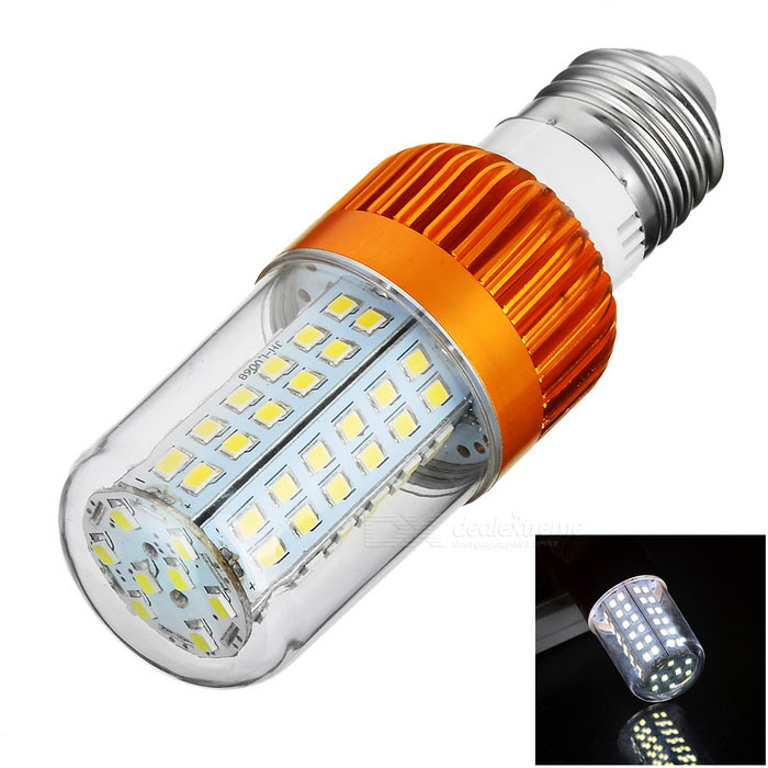 E27 8W LED Corn Bulb Cold White Light 406lm 80-SMD (AC 85~265V)E27<br>Form  ColorGolden + Transparent + Multi-ColoredColor BINCold WhiteMaterialAluminum alloy + flame retardant PCQuantity1 DX.PCM.Model.AttributeModel.UnitPower8WRated VoltageAC 85-265 DX.PCM.Model.AttributeModel.UnitConnector TypeE27Chip Type2835 SMDEmitter TypeOthers,2835 SMD LEDTotal Emitters80Theoretical Lumens700 DX.PCM.Model.AttributeModel.UnitActual Lumens406 DX.PCM.Model.AttributeModel.UnitColor Temperature12000K,Others,6000~6450KDimmableNoBeam Angle360 DX.PCM.Model.AttributeModel.UnitOther FeaturesAluminum alloy is good for heat dissipation; Good quality; High brightness; Application: home / office / hotel lighting.Packing List1 x Bulb<br>