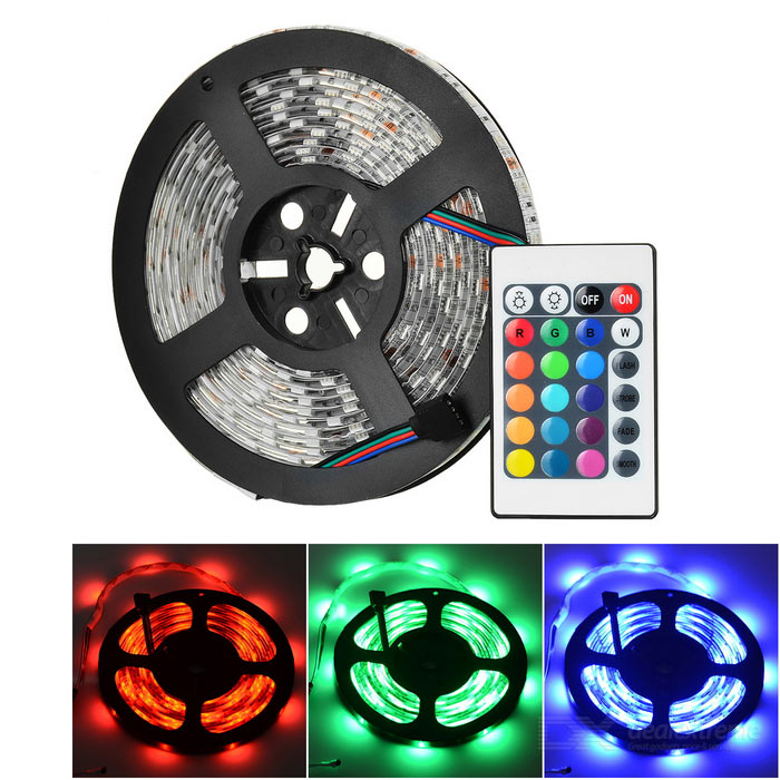 5m 72W 5050 SMD RGB Light Strip w/ 24-Key Controller / Power Adapter
