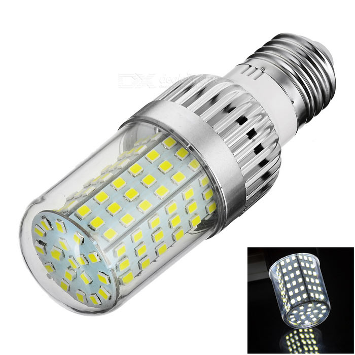 E27 12W LED Corn Bulb Lamp Cold White Light 510lm 126-SMD (AC220V)E27<br>Form  ColorSilver + Transparent + Multi-ColoredColor BINCold WhiteMaterialAluminum alloy + flame retardant plasticQuantity1 DX.PCM.Model.AttributeModel.UnitPower12WRated VoltageAC 220 DX.PCM.Model.AttributeModel.UnitConnector TypeE27Chip Type2835 SMDEmitter TypeOthers,2835 SMD LEDTotal Emitters126Theoretical Lumens900 DX.PCM.Model.AttributeModel.UnitActual Lumens510 DX.PCM.Model.AttributeModel.UnitColor Temperature12000K,Others,6000~6450KDimmableNoBeam Angle360 DX.PCM.Model.AttributeModel.UnitOther FeaturesSmall size; Aluminum alloy is good for heat dissipation; Good quality; High brightness; Application: home / office / hotel lighting.Packing List1 x Bulb<br>
