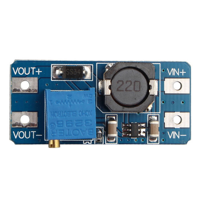 2577 DC-DC Booster Module 2A Booster BoardPower Module<br>Form  ColorBlue + Silver + Multi-ColoredModelN/AQuantity1 DX.PCM.Model.AttributeModel.UnitMaterialPCBInput Voltage2~24 DX.PCM.Model.AttributeModel.UnitOutput Voltage5~28 DX.PCM.Model.AttributeModel.UnitMax. Output Current2 DX.PCM.Model.AttributeModel.UnitEnglish Manual / SpecNoPacking List1 x 2577 DC-DC Booster Module<br>
