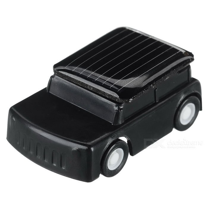 DIY 0.15W Solar Powered Mini Educational Toy Cute Car - White + Black