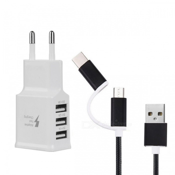 Buy EU Plug Charger + USB 3.1 Type C Charging Data Cable - Black + White with Litecoins with Free Shipping on Gipsybee.com