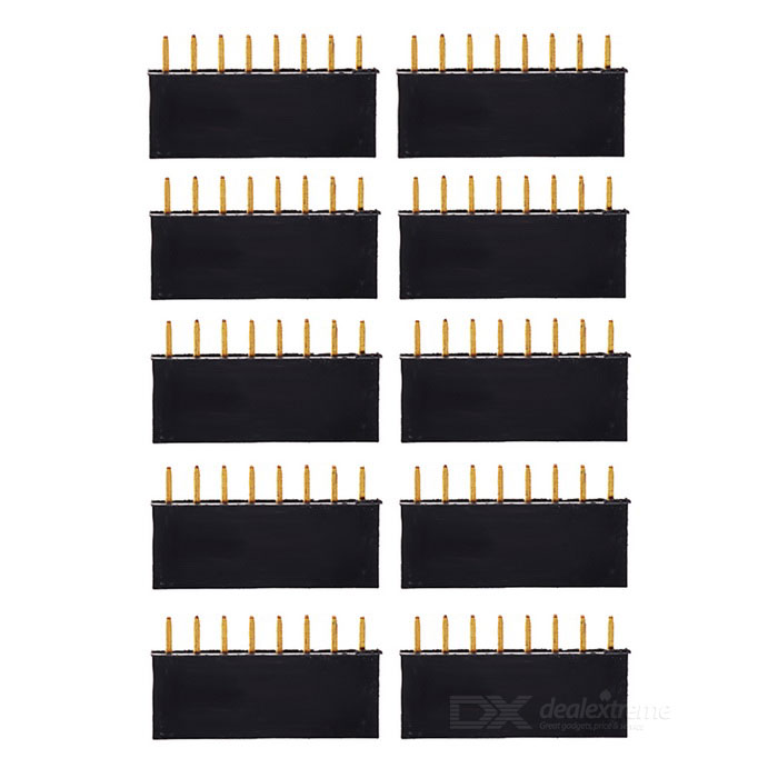 1*8P 2.54mm Pitch Single Row Pin Header (10PCS)Other Accessories<br>Form  ColorBlackModelN/AQuantity1 DX.PCM.Model.AttributeModel.UnitMaterialABS + copperEnglish Manual / SpecNoDownload Link   N/APacking List10 x Pin headers<br>