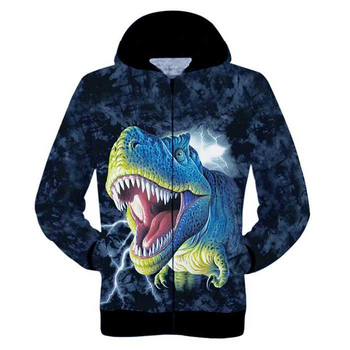 Buy 3D Printing Dinosaur Pattern Hooded Coat - Dark Blue + Black (L) with Litecoins with Free Shipping on Gipsybee.com