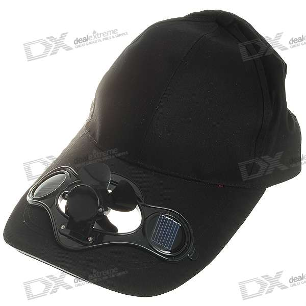Baseball Cap w/ Solar Powered Cooling Fan - Black
