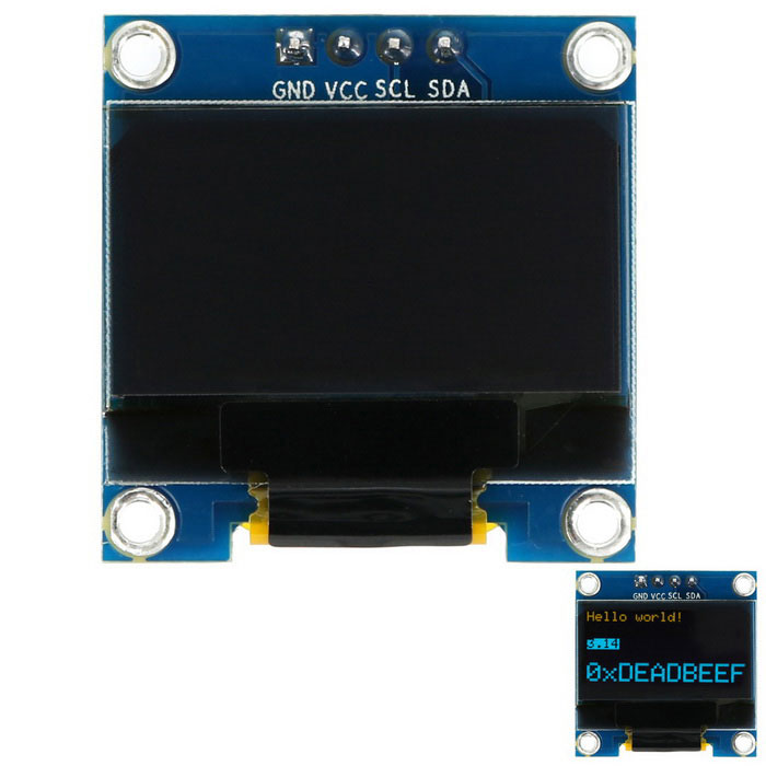 "0.96"" 128*64 I2C Interface Yellow and Blue OLED Display Module Boar"