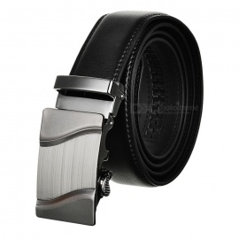 Mens-Parallel-Curves-Pattern-Leather-Belt-w-Buckle