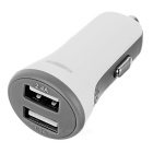 Universal Dual USB Car Charger for Cellphone / Tablets - White + Grey