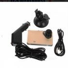 "2.6"" 120' CMOS Car DVR w/ IR Night Vision, Motion Detection - Golden"