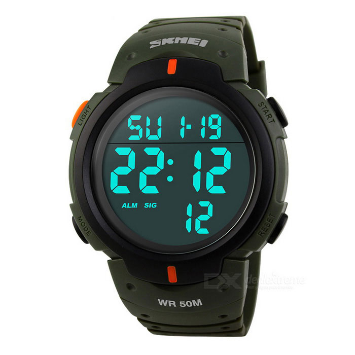 SKMEI 50m Waterproof Mens Sports Watch - Army greenSport Watches<br>Form  ColorArmy GreenQuantity1 DX.PCM.Model.AttributeModel.UnitShade Of ColorGreenCasing MaterialPCWristband MaterialPUSuitable forAdultsGenderUnisexStyleWrist WatchTypeSports watchesDisplayDigitalBacklightBlueMovementDigitalDisplay Format12/24 hour time formatWater ResistantWater Resistant 5 ATM or 50 m. Suitable for swimming, white water rafting, non-snorkeling water related work, and fishing.Dial Diameter4.7 DX.PCM.Model.AttributeModel.UnitDial Thickness1.4 DX.PCM.Model.AttributeModel.UnitWristband Length26 DX.PCM.Model.AttributeModel.UnitBand Width2.2 DX.PCM.Model.AttributeModel.UnitBattery1 x CR2025Packing List1 x Sports Watch1 x Chinese and English instruction manual1 x Carton packaging<br>