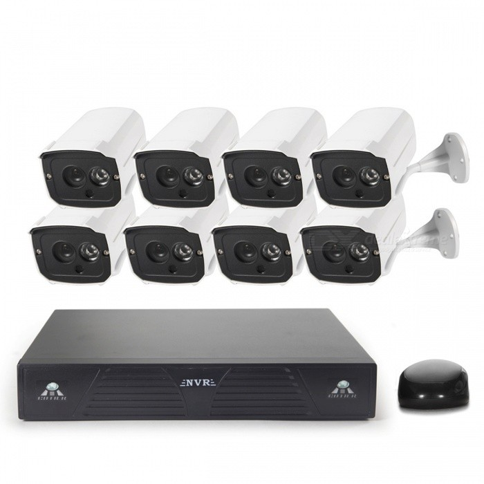 COTIER 8-CH P2P Cloud NVR Network HD 960P IP Camera NVR Kits - WhiteNVR Cards &amp; Systems<br>Form  ColorWhite + BlackPower AdapterEU PlugModelN8B7M/KitMaterialAluminumQuantity1 DX.PCM.Model.AttributeModel.UnitVideo Compressed FormatH.264Video InputOthers,8-ChannelVideo OutputOthers,1-CH VGA + 1-CH HDMIVideo SystemAutoVideo StandardsH.264Audio Compression FormatNoMax Capacity4TBInterface TypeSATAOperating SystemWindows 7,Android 4.0,LinuxSupported LanguagesEnglish,Simplified ChinesePTZ ControlPTZPicture Resolution1280*960Working Temperature-10~+55 DX.PCM.Model.AttributeModel.UnitWorking Humidity10%-90%Storage TemperatureYesAlarm InputNOAlarm OutputNONetwork InterfaceRJ45USB Port Qty2 DX.PCM.Model.AttributeModel.UnitPower AdaptorYesRate Voltage12VRated Current2 DX.PCM.Model.AttributeModel.UnitPower24 DX.PCM.Model.AttributeModel.UnitPower SupplyOthers,AC 100-240VCertificationCE FCPacking List8 x IP Cameras (55cm cable)1 x NVR8 x IP Camera power supplies (100-240V EU Plug 89cm-Cable)1 x NVR Power supply (100-240V  EU plug 112cm  Cable  )2 x CDs1 x Mouse( 125cm-cable )8 x Screws<br>