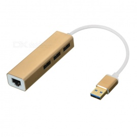 USB-30-to-RJ45-100M-Network-Adapter-and-3-Port-Hub-Champagne-Gold