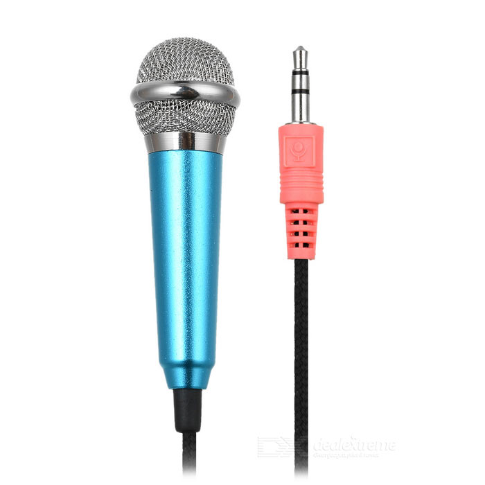 3.5mm Omnidirectional Mini Microphone w/ Audio Cable - Blue + Black ...