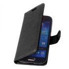 PU Leather Wallet Style Cover Case for Samsung Galaxy S4 Mini - Black