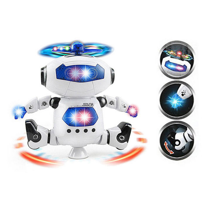 Space Robot 360 Degree Rotating with Dance Music with Lighting - White