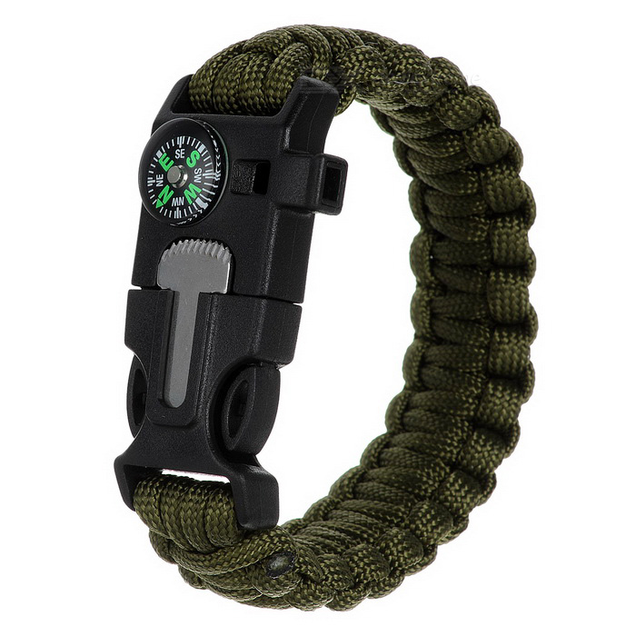 Survival Paracord Bracelet w/ Whistle, Flint
