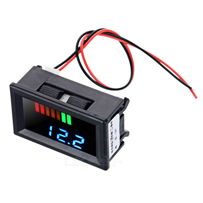 Electric Quantity / Blue Light Voltage Meter for 12V Lead-Acid BatteryVoltmeter or Thermometers or Hygrometers<br>Form  ColorBlack + Black + Multi-ColoredModelN/AQuantity1 DX.PCM.Model.AttributeModel.UnitMaterialABSFunctionvoltage display,Others,Battery IndicatorScreen Size1.2 DX.PCM.Model.AttributeModel.UnitDisplay ColorBlue + green + orange + redTemperature RangeN/A DX.PCM.Model.AttributeModel.UnitPower Supply12VPacking List1 x 12V Displayer1 x Power cable (19cm)<br>