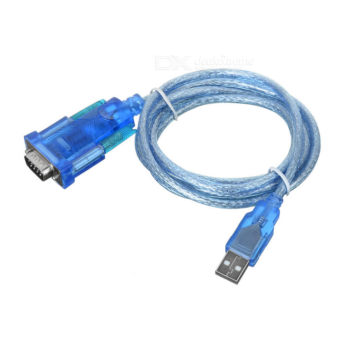 USB to RS232 9-Pin Serial Port Cable - Transparent Blue