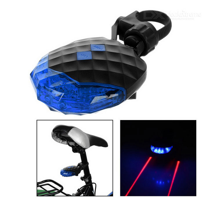 CTSmart Waterproof 5-LED 7-Mode Blue Light Laser Taillight - BlueBike Light<br>Form  ColorBlueQuantity1 DX.PCM.Model.AttributeModel.UnitMaterialHigh strength plasticEmitter BINLEDColor BINBlueNumber of Emitters5Battery2 x AAA batteries(included)Battery included or notYesNumber of Modes7Mode ArrangementOthers,Steady on, fast strobe, quick flash, strobe from left to right, strobe from right to left, quick flash together, left and right strobeStrap/ClipClip includedApplicationBody,Seat Post,Handle BarHolder Diameter2~3.5 DX.PCM.Model.AttributeModel.UnitWaterproofYesCertificationCEOther FeaturesWith 2 Red laser lights, light mode: steady + strobePacking List1 x Taillight2 x AAA1 x Holder<br>