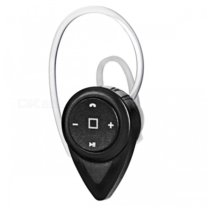 Mini Stereo In-Ear Bluetooth Earphone w/ Mic, Voice Prompt - BlackHeadphones<br>Form  ColorBlackMaterialABSQuantity1 DX.PCM.Model.AttributeModel.UnitShade Of ColorBlackEar CouplingIn-EarBluetooth VersionOthers,V4.1Operating Range10mRadio TunerNoMicrophoneYesSupports MusicYesConnects Two Phones SimultaneouslyNoApplicable ProductsIPHONE 5,IPHONE 4,IPHONE 4S,IPHONE 3G,IPHONE 3GS,IPAD,Universal,Cellphone,Tablet PC,Others,IPHONE 5S,IPHONE 5C,Smartphone and tablets with BluetoothBuilt-in Battery Capacity 110 DX.PCM.Model.AttributeModel.UnitBattery TypeLi-polymer batteryTalk Time8 DX.PCM.Model.AttributeModel.UnitMusic Play Time5Standby Time200 DX.PCM.Model.AttributeModel.UnitPower AdapterUSBPower Supply5V 500-1000mAPacking List1 x Earphone1 x Chinese / English user manual1 x Earhook1 x Charging cable (27.5+/-2cm)<br>