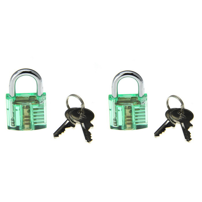 Mini Inside-View Pick Skill Training Practice Padlock Lock Tool (2PCS)Locksmith Supplies<br>ModelN/AQuantity1 DX.PCM.Model.AttributeModel.UnitForm  ColorOthers,Transparent greenMaterialABS + stainless steelPacking List2 x Locks (with 4 keys)<br>