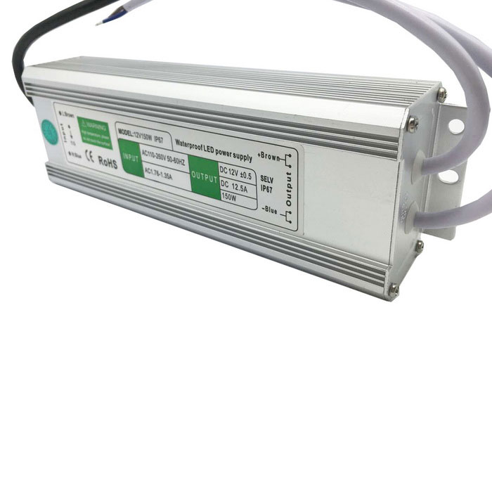 150W 12V 12.5A Rain-Proof Power Supply for LED Light - Silver