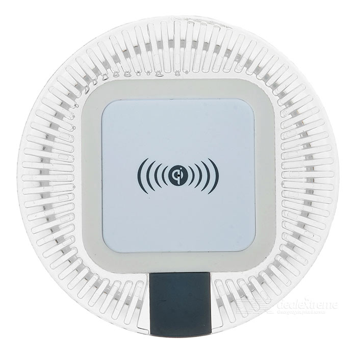 Universal Round 5V / 1.5A Qi Wireless Charger - Transparent + White