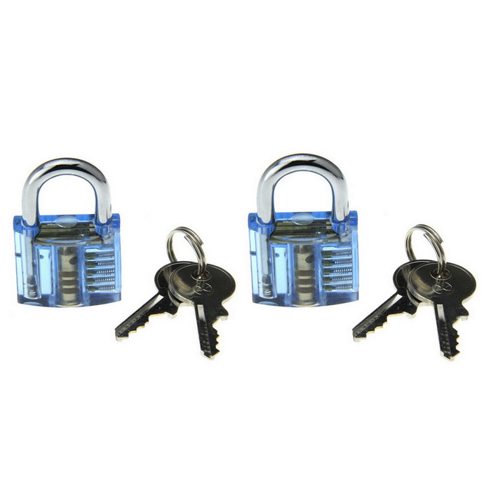 Mini Inside-View Pick Skill Training Practice Padlock Lock Kit (2PCS)Locksmith Supplies<br>ModelN/AQuantity1 DX.PCM.Model.AttributeModel.UnitForm  ColorBlueMaterialABS + stainless steelPacking List2 x Locks (with 4 keys)<br>