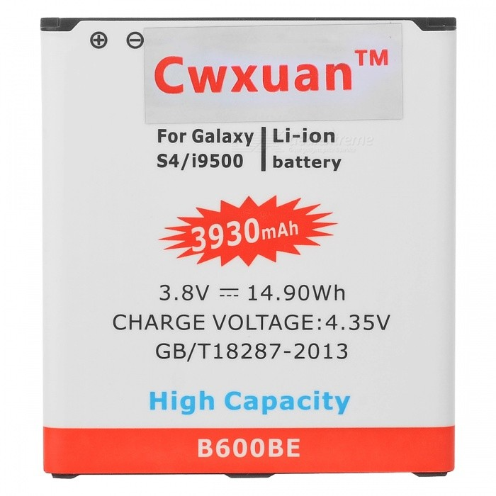 Cwxuan 3.8V 3930mAh Li-ion Battery w/ NFC for Samsung S4 i9500 - White